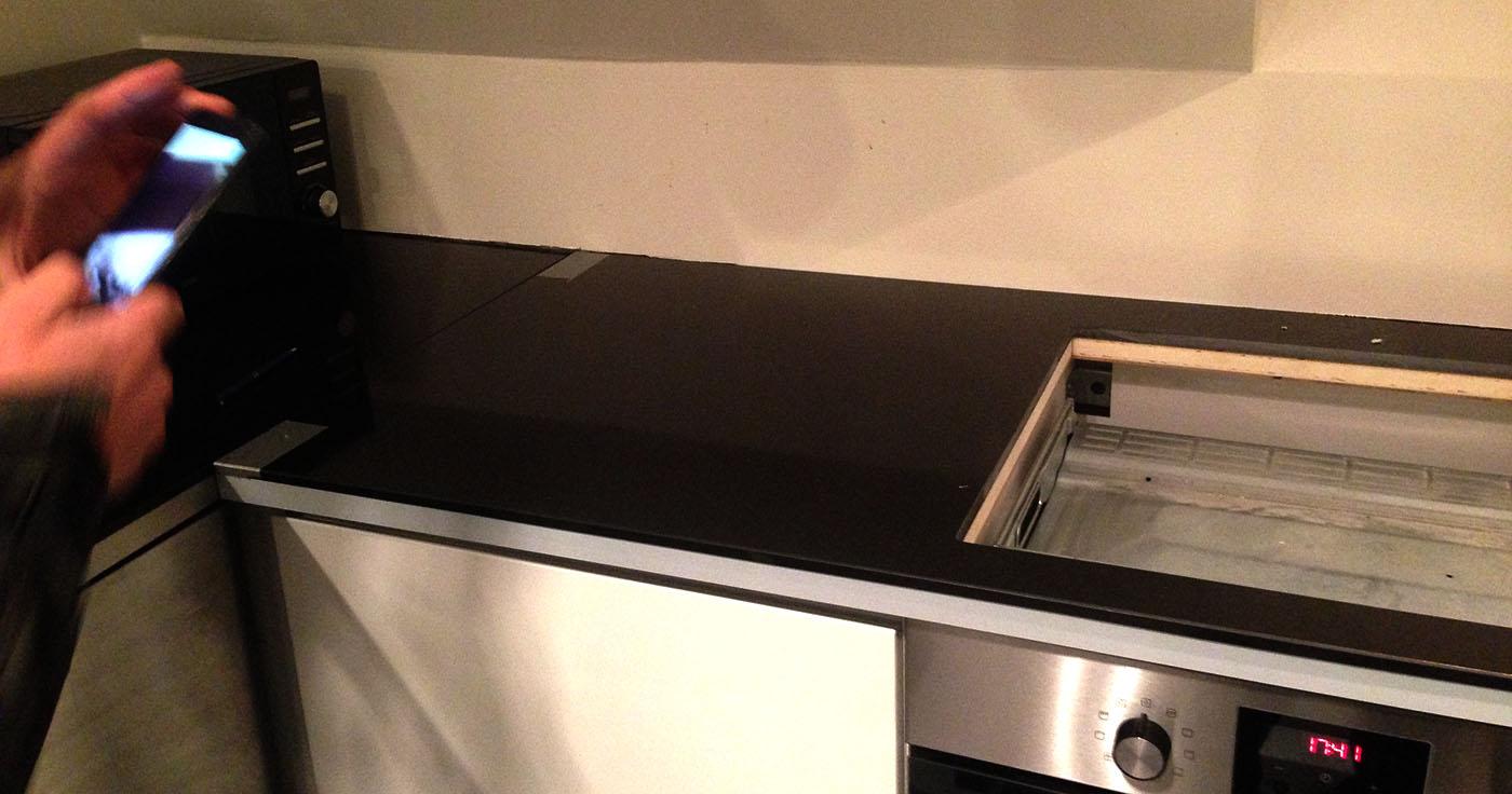udskiftning af bordplade køkken